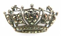 Vintage Sterling Silver And Marcasite Crown Brroch